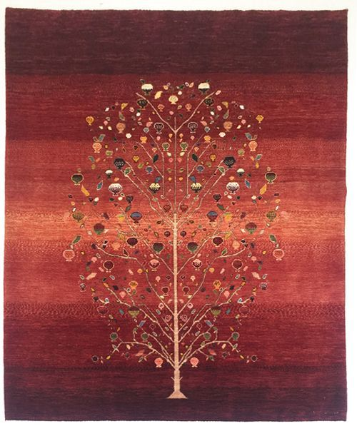 ルリバフ ザクロ ゾランヴァリ手織り絨毯ギャッベ